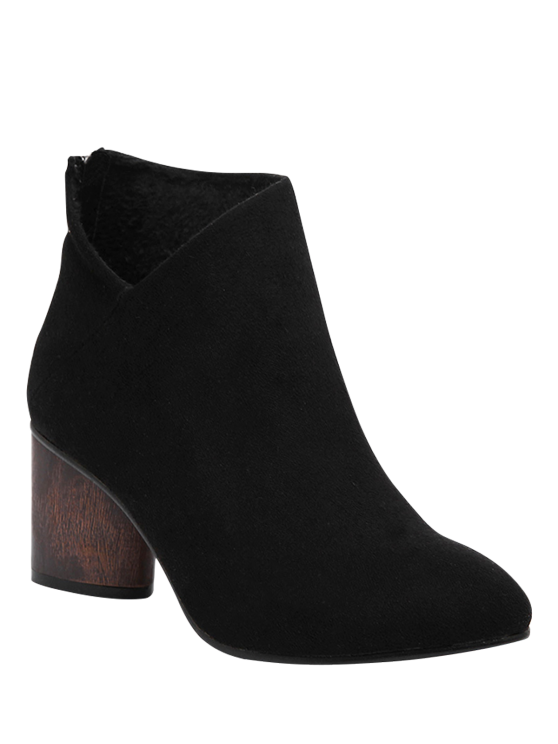 outfits V-Shape Pointed Toe Zipper Ankle Boots - BLACK 38