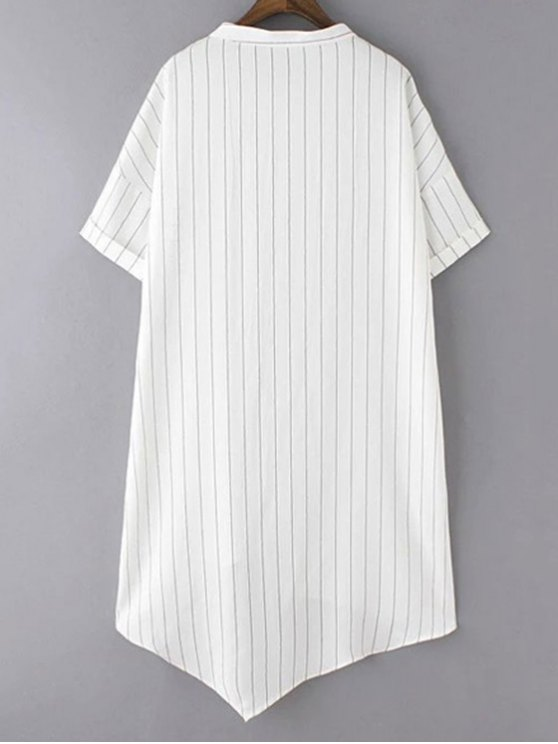Striped Pockets Patch Irregular Hem Dress - WHITE L Mobile