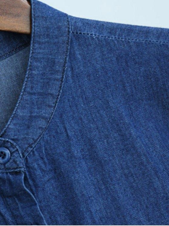 Button Down Drawstring Design Playsuit - BLUE M Mobile
