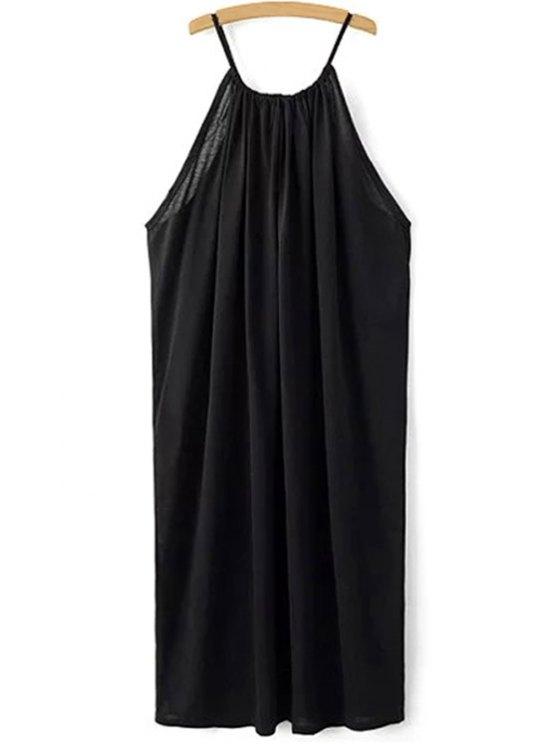 Noir bretelles spaghetti en cravate lâche Fitting - Noir L