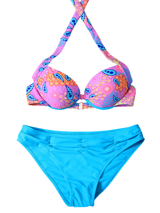 Halter Ethnic Style Underwire Bikini Set - BLUE M Mobile