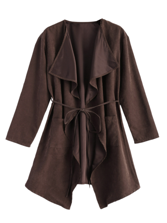 Faux Suede Duster Coat - BROWN M Mobile