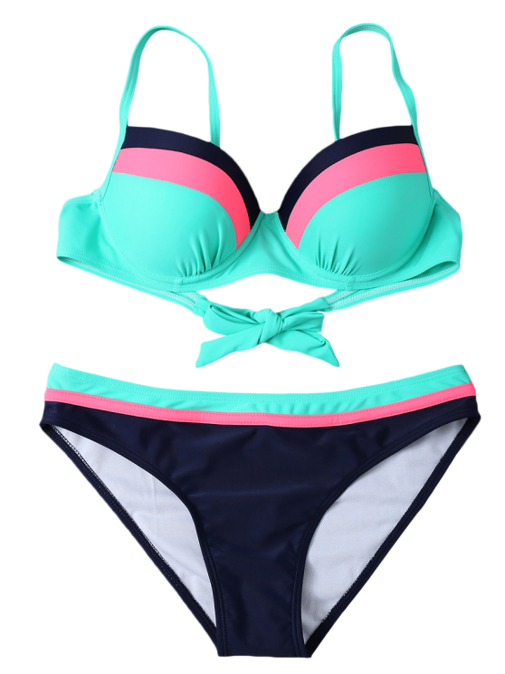 Color Block Bowknot Bikini Set - GREEN L Mobile