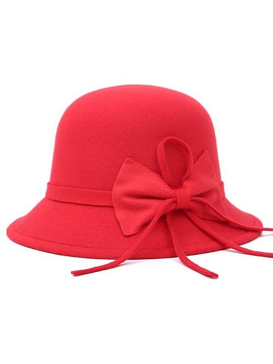 Long Band Bowknot Felt Fedora Hat - RED  Mobile