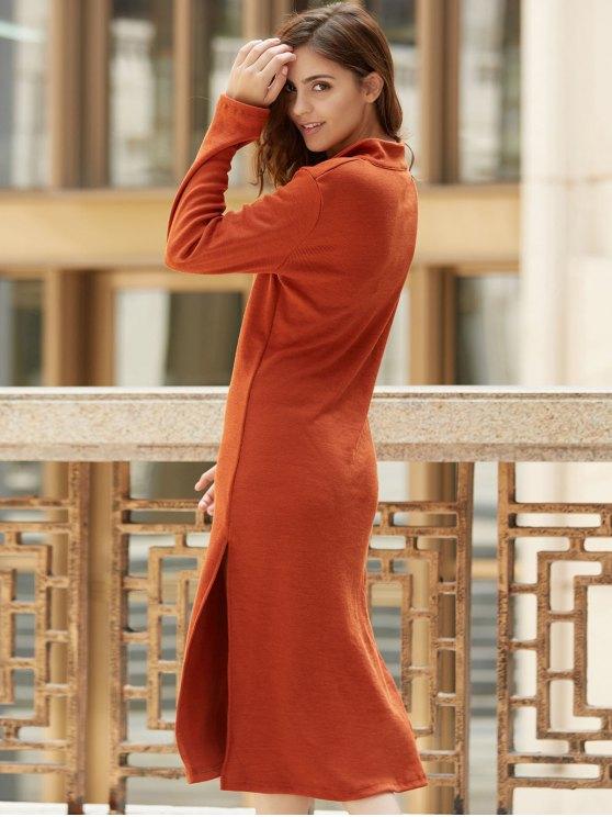 Solid Color Side Slit Plunging Neck Long Sleeve Dress - CLARET M Mobile