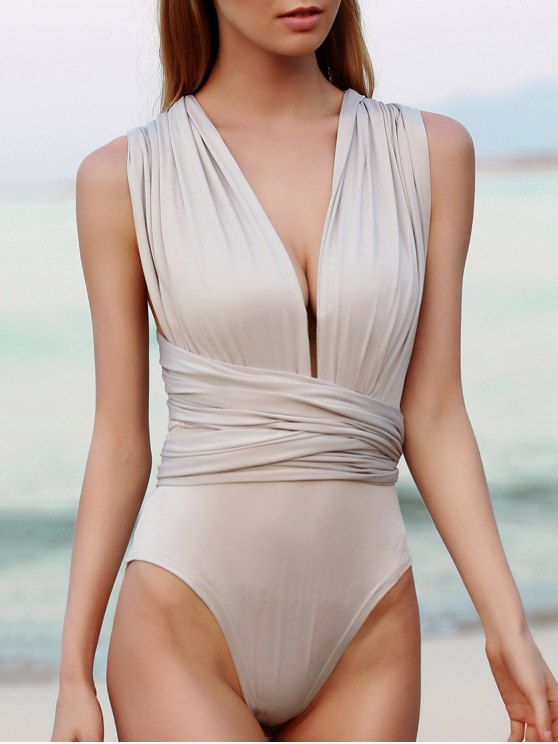 Convertible Solid Color Backless Bodysuit - LIGHT GRAY S Mobile
