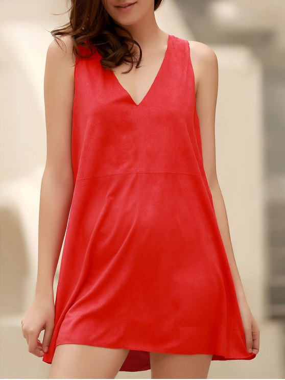 womens Red Faux Suede Plunging Neck Sleeveless Dress - RED M