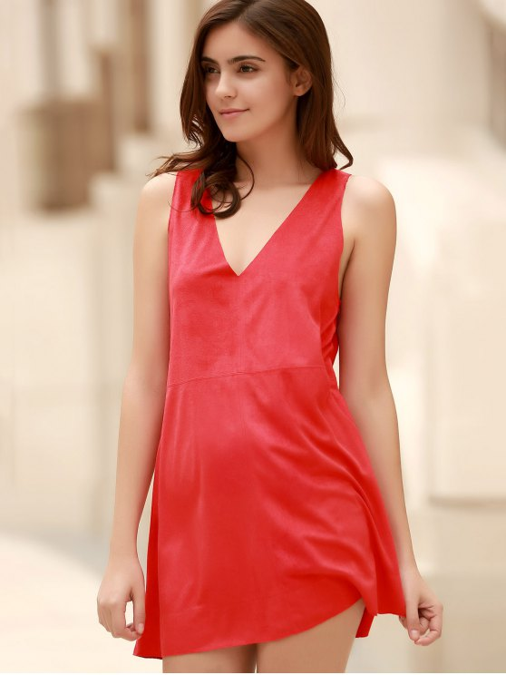 Red Faux Suede Plunging Neck Sleeveless Dress - RED M Mobile