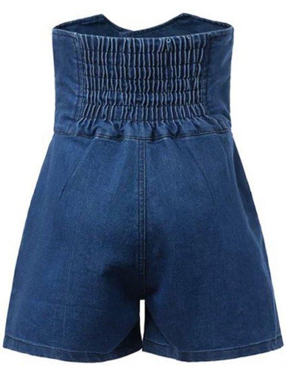 Solid Color High Waist Denim Shorts - DEEP BLUE XL Mobile