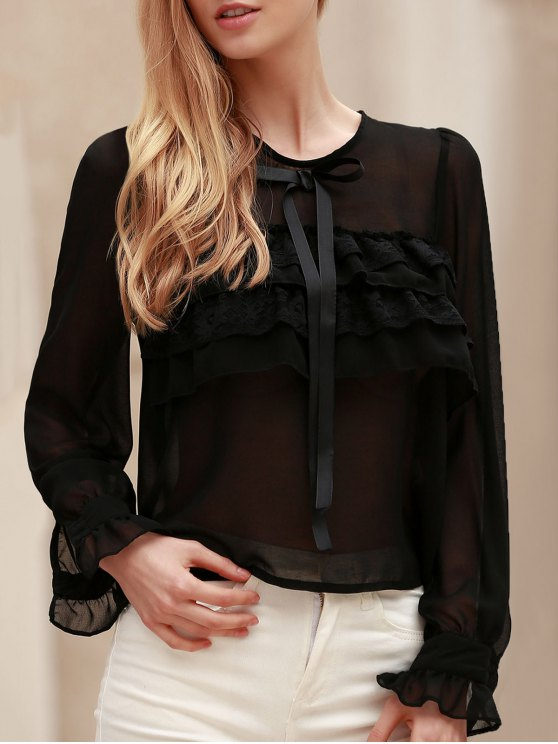 Bowknot Embellished See-Through Blouse - BLACK M Mobile