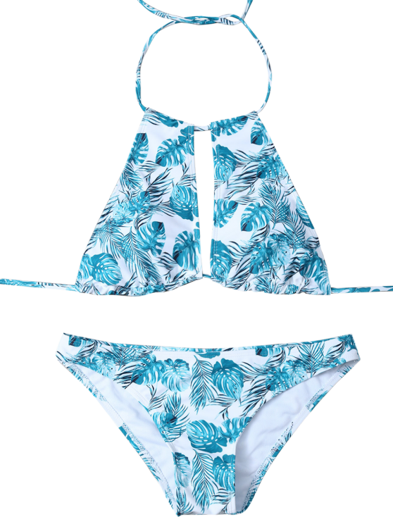 Leaf Print High Neck Keyhole Bikini - BLUE AND WHITE M Mobile