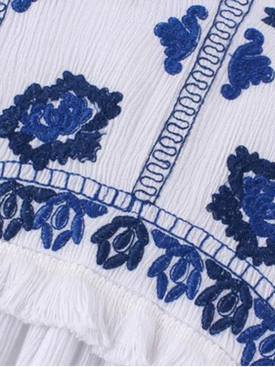 Blue and White Porcelain Blouse - BLUE AND WHITE L Mobile