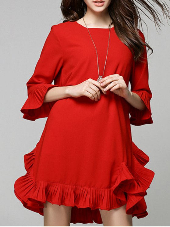chic Flouncing Red Dress - RED M