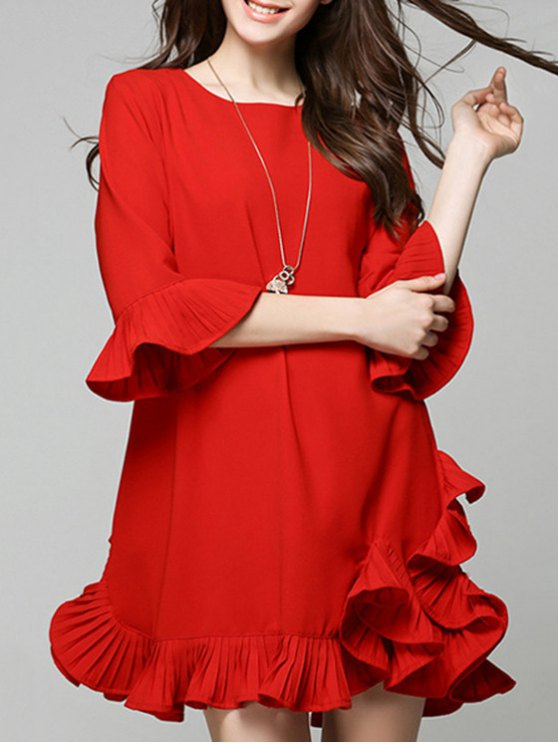 Flouncing Red Dress - RED L Mobile