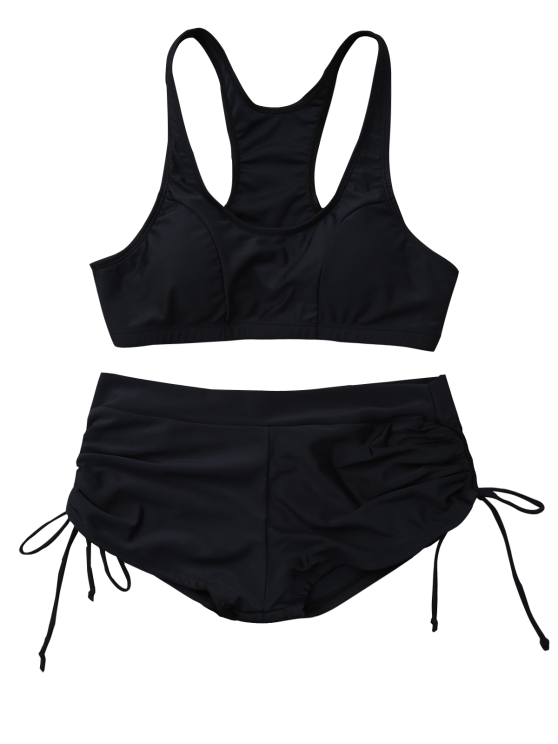 Lace Up Padded Sporty Bikini Set - BLACK S Mobile