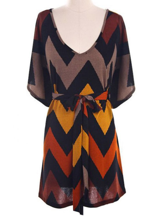 Batwing Sleeve Chevron Stripe Dress - COLORMIX L Mobile