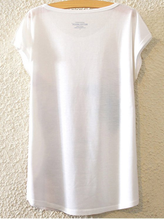 Figure Print Round Neck Bat-Wing Sleeve T-Shirt - WHITE ONE SIZE(FIT SIZE XS TO M) Mobile