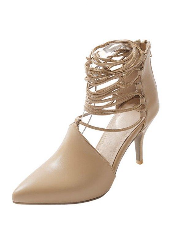 Stiletto Heel Lace-Up Pointed Toe Pumps - LIGHT KHAKI 37 Mobile