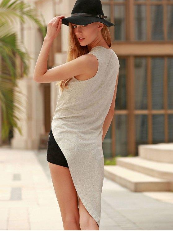 Sleeveless Asymmetrical T-Shirt - GRAY M Mobile