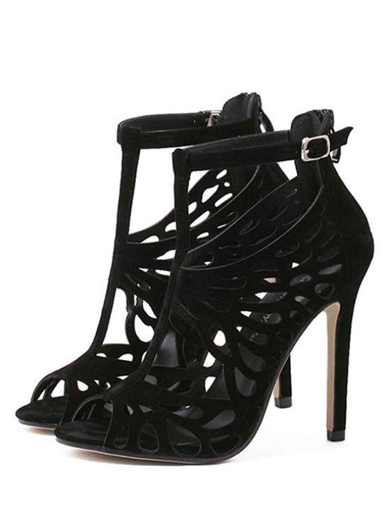 Black Hollow Out T-Strap Sandals - BLACK 37 Mobile