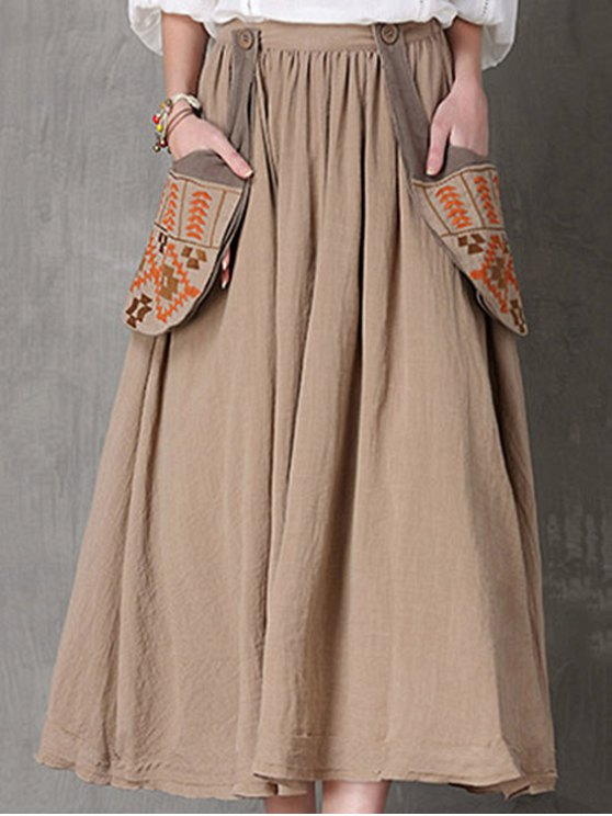 Étnico bordado de una falda de línea - Camello L