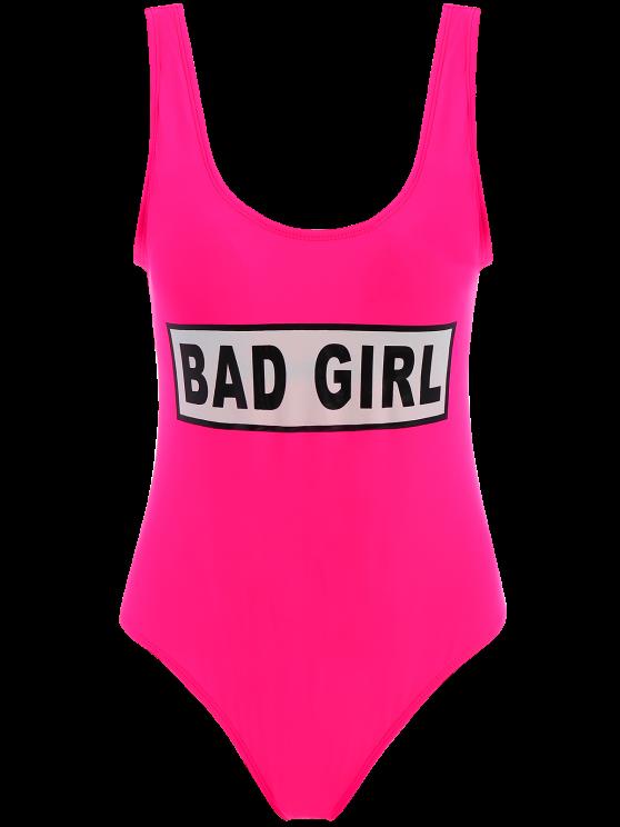 Straps Bad Girl Print Swimwear - ROSE RED M Mobile