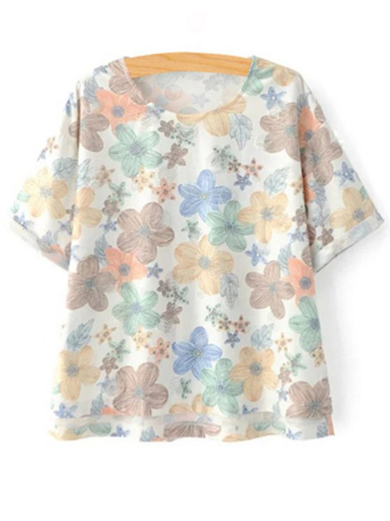Full Floral Jewel Neck Short Sleeve Tee - COLORMIX S Mobile