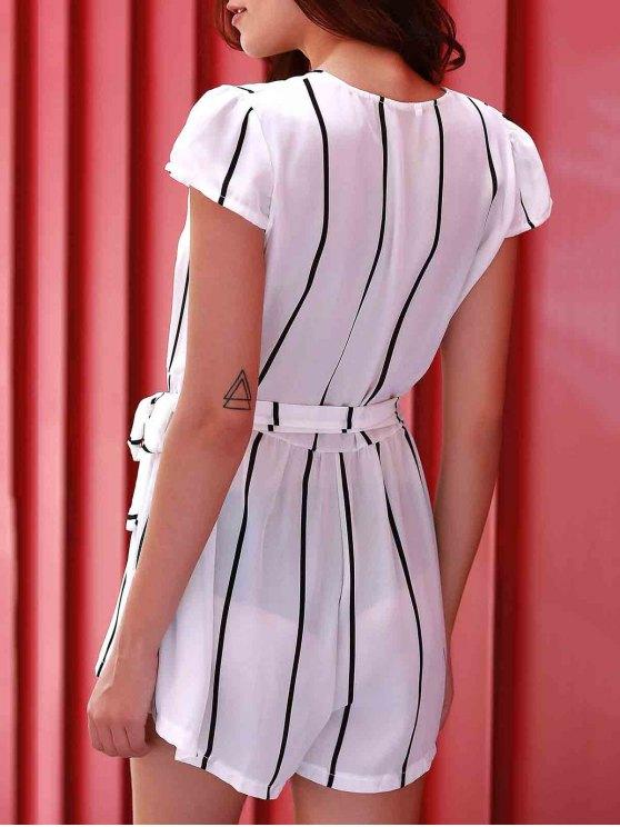 Deep V Neck Vertical Stripes Romper - WHITE XL Mobile