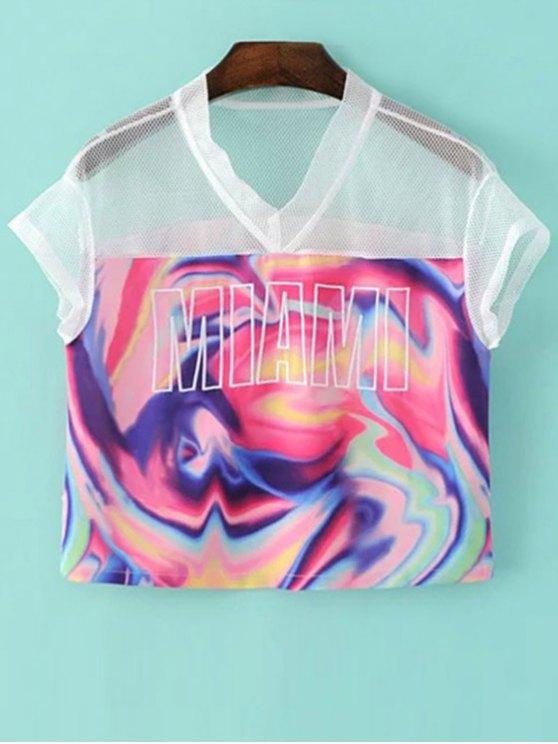 ladies Mesh Splice Print V Neck Short Sleeve T-Shirt - COLORMIX S