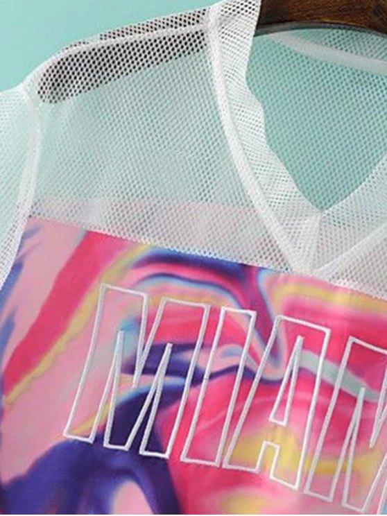 Mesh Splice Print V Neck Short Sleeve T-Shirt - COLORMIX S Mobile
