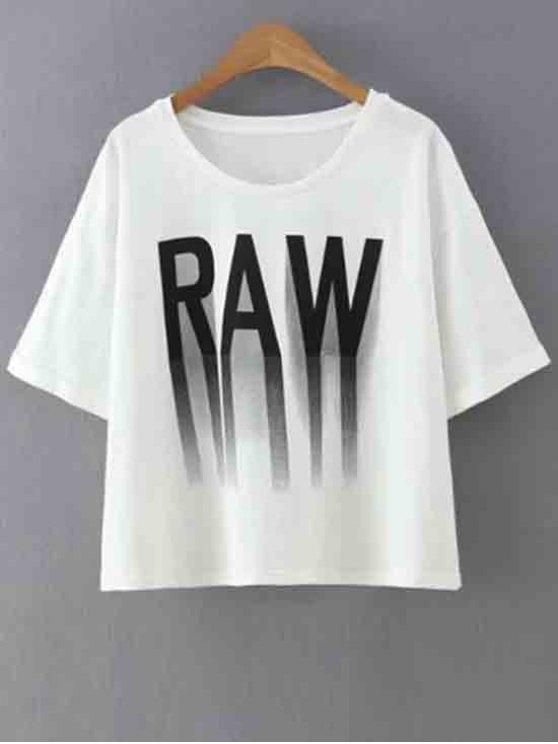 chic Letter Print Round Collar Half Sleeve T-Shirt - WHITE S
