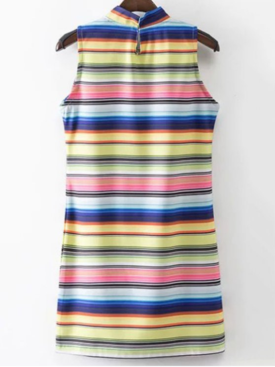 Colored Stripe Stand Neck Sleeveless Dress - STRIPE S Mobile