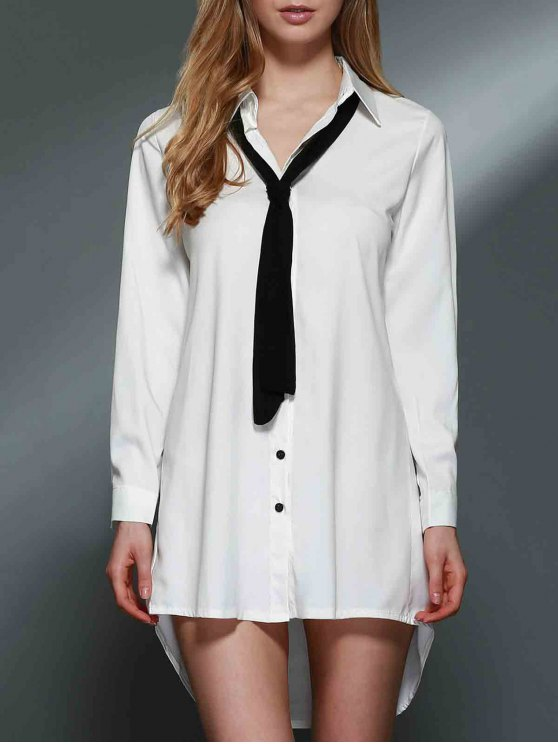Bowknot Embellished Tunic Shirt Dress - WHITE 2XL Mobile