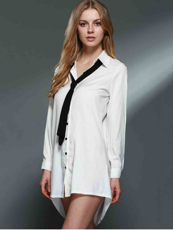 Bowknot Embellished Tunic Shirt Dress - WHITE M Mobile