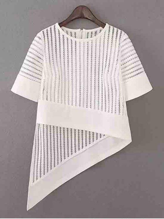 shop Irregular Hem Half Sleeve Hollow Out T-Shirt - WHITE M