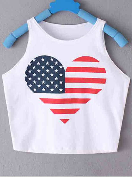 lady American Flag Printed Round Collar Crop Top - WHITE L