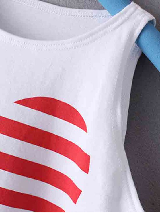 American Flag Printed Round Collar Crop Top - WHITE L Mobile