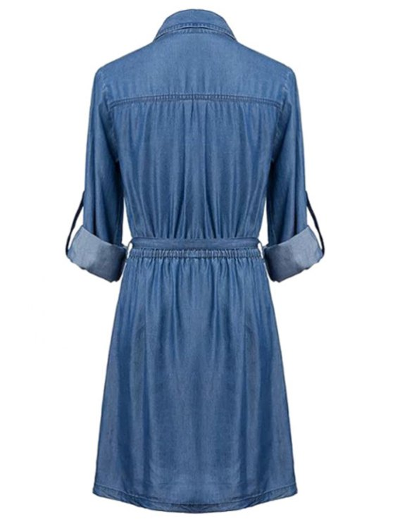 Pockets Shirt Collar Long Sleeve Chambray Dress - BLUE S Mobile
