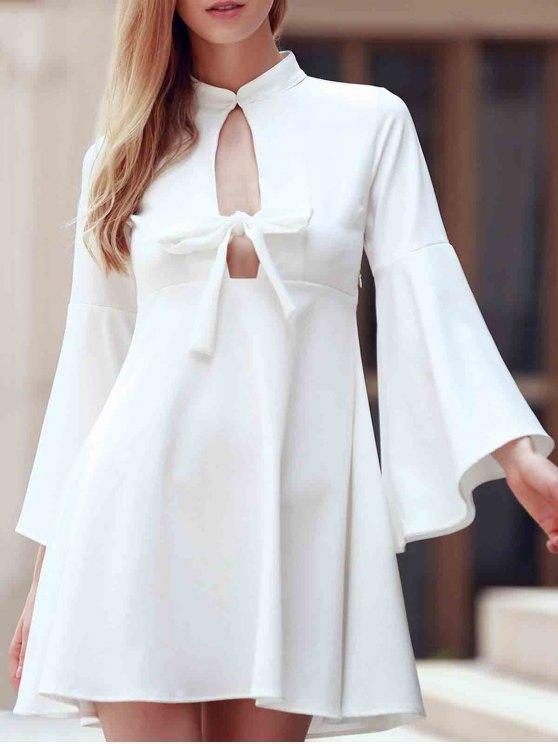 ladies Flare Sleeve Cutout Swing Dress - WHITE L
