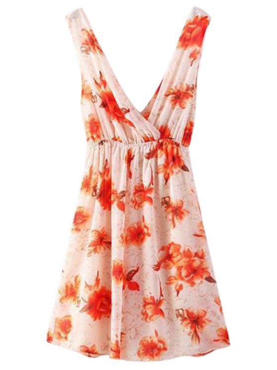 Cross-Over Floral Print Dress - Multicolore L