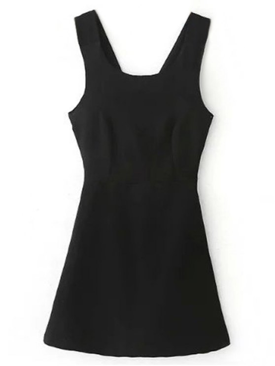 shop Back Cross Self Tie Sleeveless Dress - BLACK S