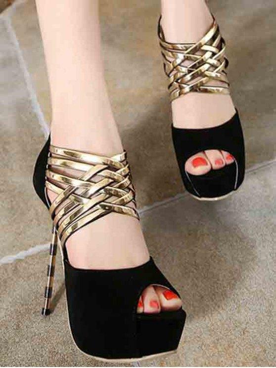 Platform Flock Stiletto Heel Peep Toe Shoes - BLACK 38 Mobile