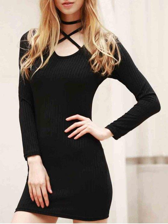 Long Sleeve Black Bodycon Dress - BLACK M Mobile
