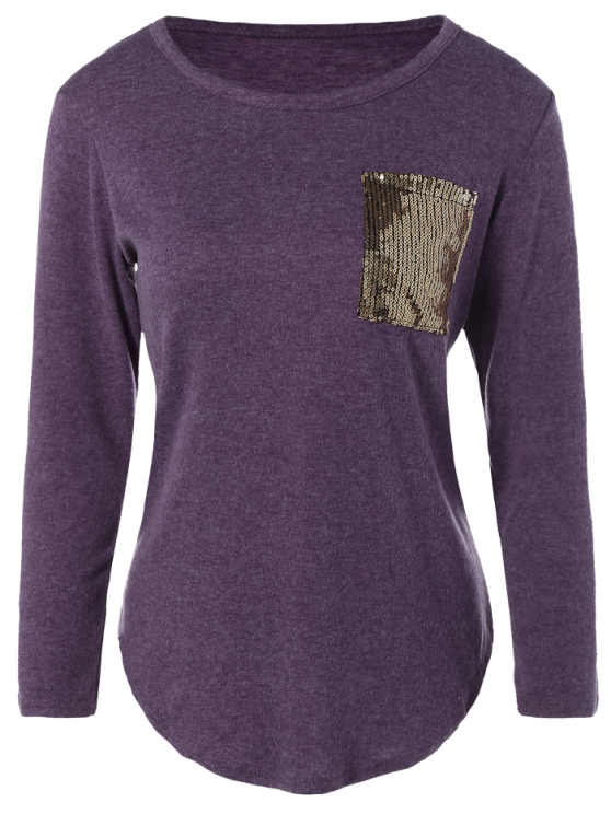 outfits Sequined Pocket Slit T-Shirt - PURPLE M