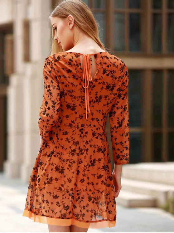 3/4 Sleeve Floral Print Flared Dress - YELLOW M Mobile