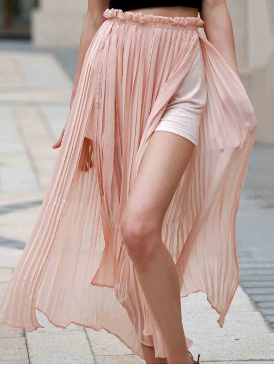 Pleated Chiffon Long Skirt - PINK M Mobile