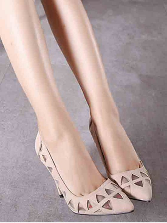Hollow Out Geometric Pointed Toe Pumps - APRICOT 37 Mobile