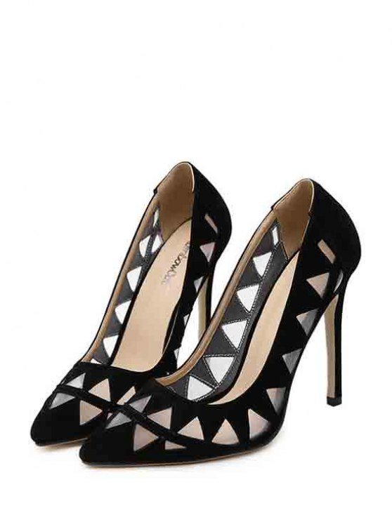 Hollow Out Geometric Pointed Toe Pumps - BLACK 38 Mobile