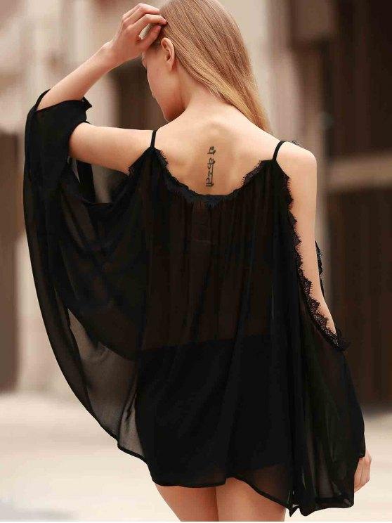 Eyelash Lace Spliced Draped Blouse - BLACK L Mobile