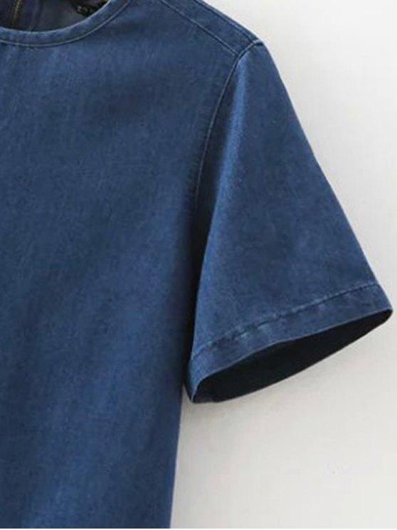 Flanging Double Pocket Round Neck Short Sleeve Denim Dress - DEEP BLUE L Mobile